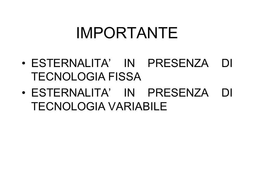 IMPORTANTE ESTERNALITA IN PRESENZA DI TECNOLOGIA FISSA ESTERNALITA IN PRESENZA DI TECNOLOGIA VARIABILE