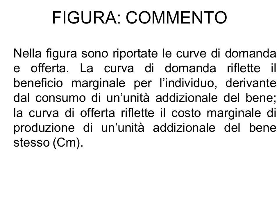 FIGURA: COMMENTO Nella figura sono riportate le curve di domanda e offerta. La curva di domanda riflette il beneficio marginale per lindividuo, deriva