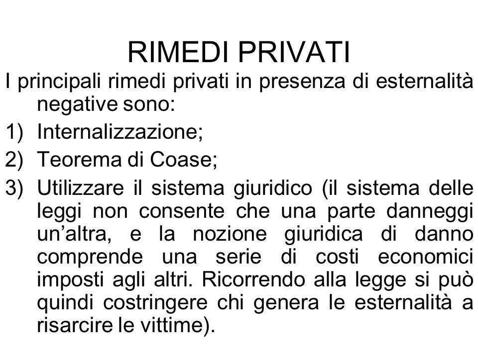RIMEDI PRIVATI I principali rimedi privati in presenza di esternalità negative sono: 1)Internalizzazione; 2)Teorema di Coase; 3)Utilizzare il sistema