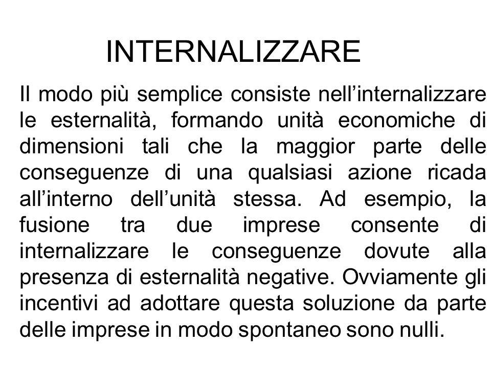 INTERNALIZZARE Il modo più semplice consiste nellinternalizzare le esternalità, formando unità economiche di dimensioni tali che la maggior parte dell