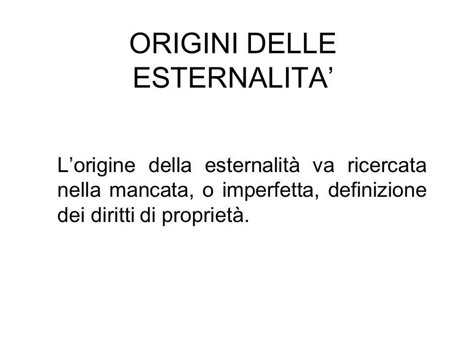 ORIGINI DELLE ESTERNALITA Lorigine della esternalità va ricercata nella mancata, o imperfetta, definizione dei diritti di proprietà.