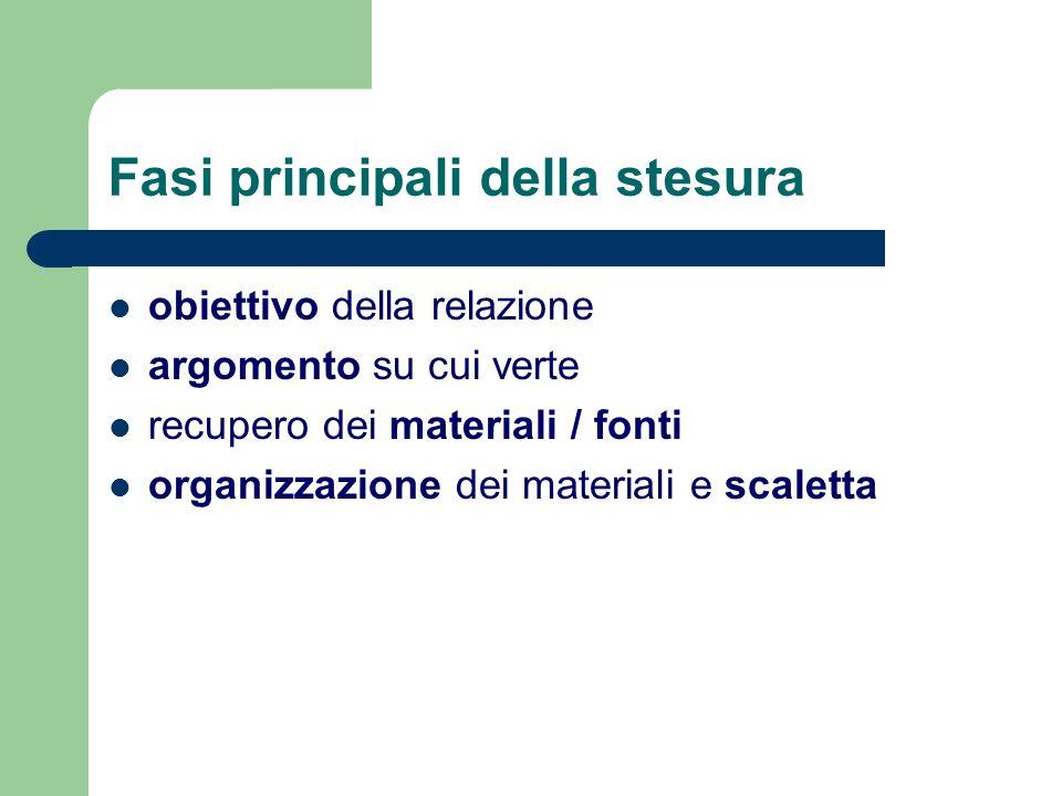 Fasi principali della stesura obiettivo della relazione argomento su cui verte recupero dei materiali / fonti organizzazione dei materiali e scaletta