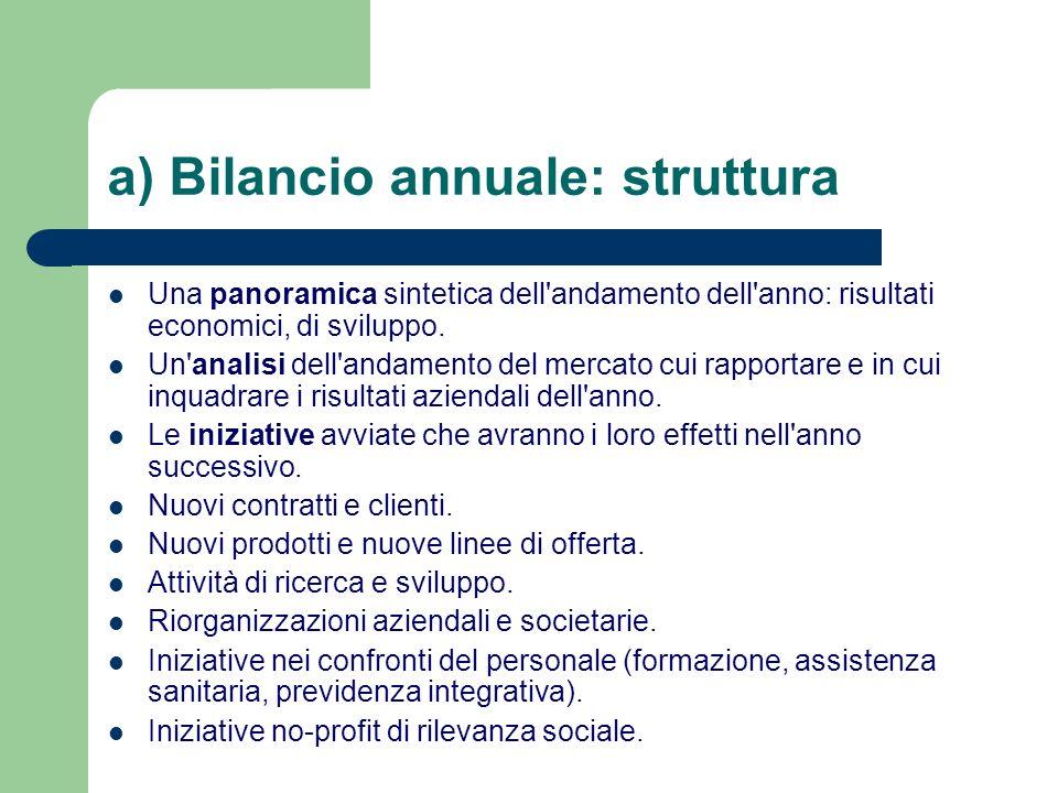 a) Bilancio annuale: struttura Una panoramica sintetica dell'andamento dell'anno: risultati economici, di sviluppo. Un'analisi dell'andamento del merc