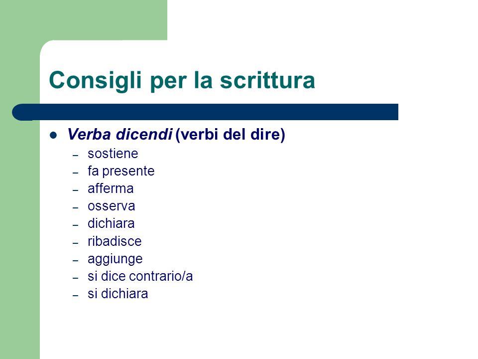 Consigli per la scrittura Verba dicendi (verbi del dire) – sostiene – fa presente – afferma – osserva – dichiara – ribadisce – aggiunge – si dice cont