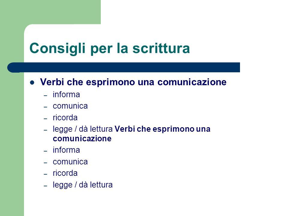 Consigli per la scrittura Verbi che esprimono una comunicazione – informa – comunica – ricorda – legge / dà lettura Verbi che esprimono una comunicazi