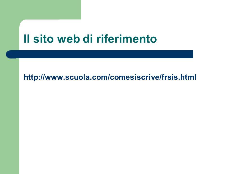 Il sito web di riferimento http://www.scuola.com/comesiscrive/frsis.html