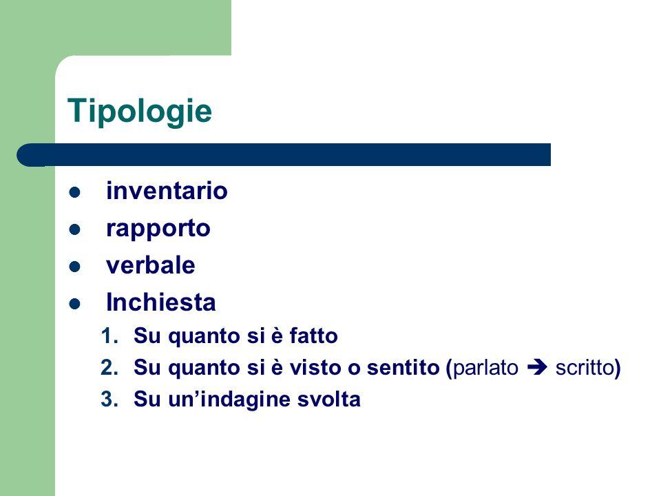 Tipologie inventario rapporto verbale Inchiesta 1.Su quanto si è fatto 2.Su quanto si è visto o sentito (parlato scritto) 3.Su unindagine svolta