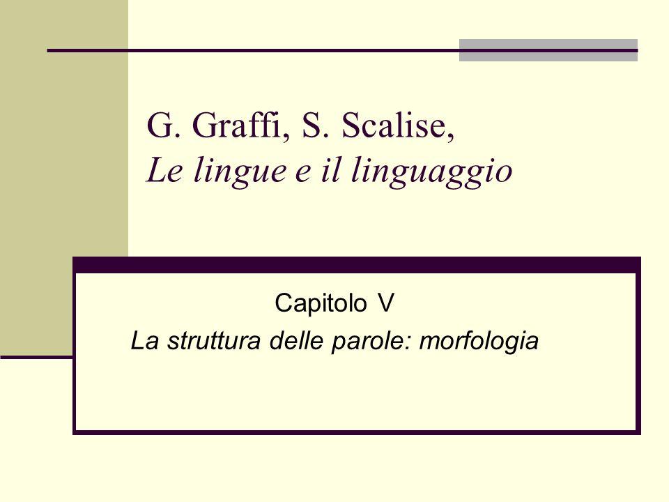 G. Graffi, S. Scalise, Le lingue e il linguaggio Capitolo V La struttura delle parole: morfologia