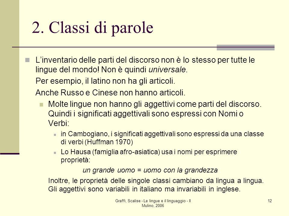 Graffi, Scalise - Le lingue e il linguaggio - Il Mulino, 2006 12 2. Classi di parole Linventario delle parti del discorso non è lo stesso per tutte le