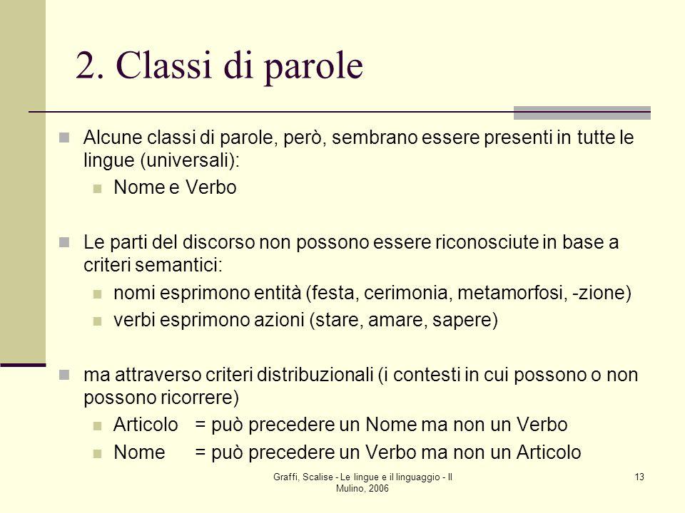 Graffi, Scalise - Le lingue e il linguaggio - Il Mulino, 2006 13 2. Classi di parole Alcune classi di parole, però, sembrano essere presenti in tutte