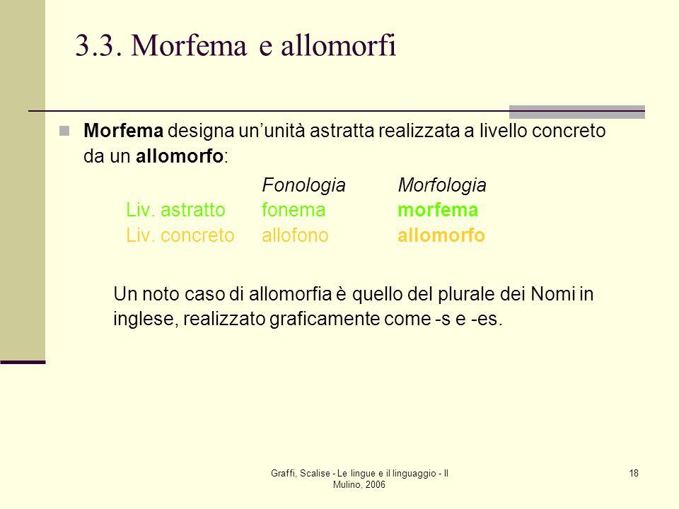 Graffi, Scalise - Le lingue e il linguaggio - Il Mulino, 2006 18 3.3. Morfema e allomorfi Morfema designa ununità astratta realizzata a livello concre