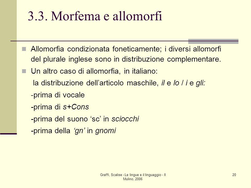 Graffi, Scalise - Le lingue e il linguaggio - Il Mulino, 2006 20 3.3. Morfema e allomorfi Allomorfia condizionata foneticamente; i diversi allomorfi d