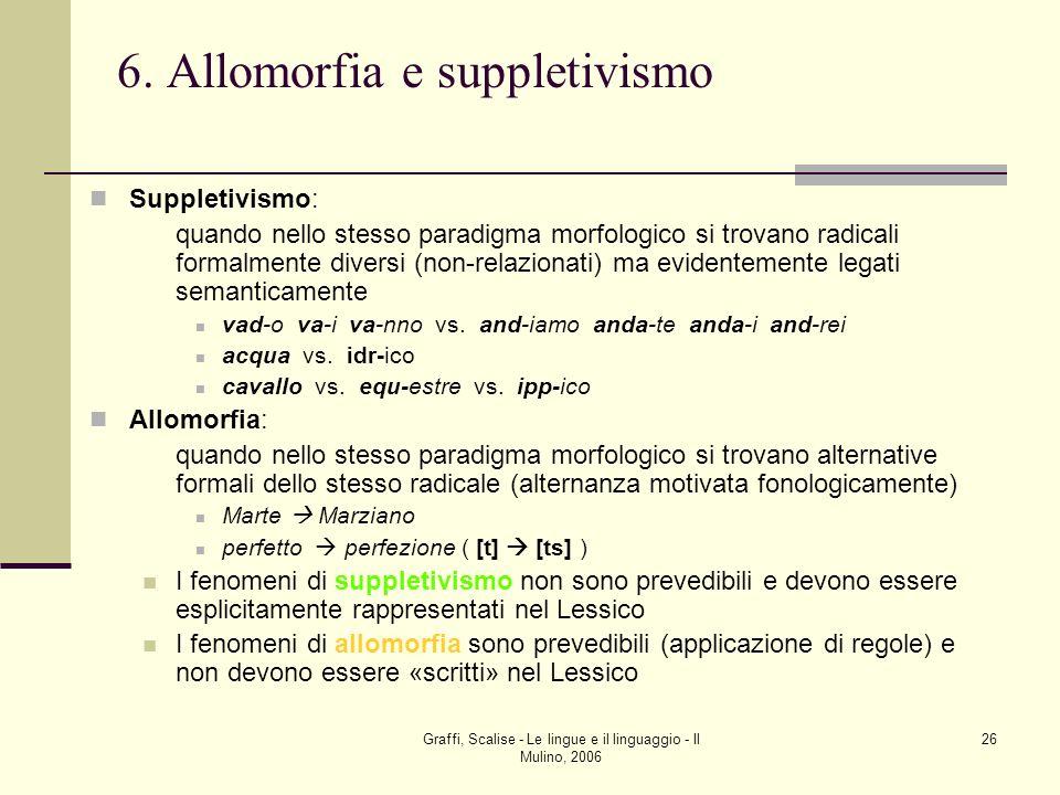 Graffi, Scalise - Le lingue e il linguaggio - Il Mulino, 2006 26 6. Allomorfia e suppletivismo Suppletivismo: quando nello stesso paradigma morfologic