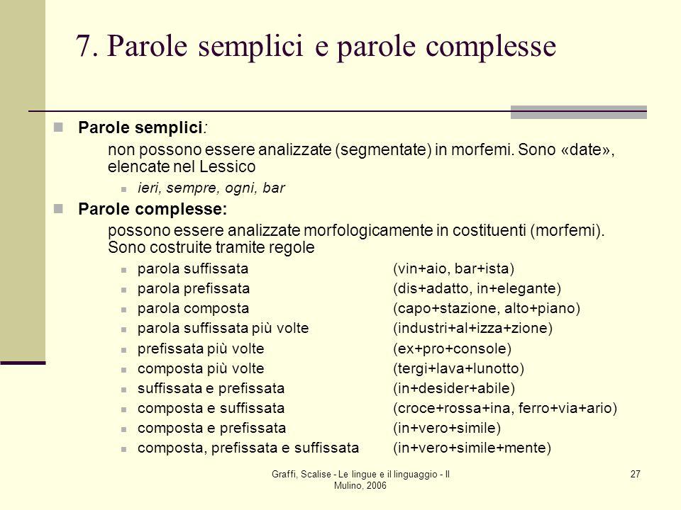 Graffi, Scalise - Le lingue e il linguaggio - Il Mulino, 2006 27 7. Parole semplici e parole complesse Parole semplici: non possono essere analizzate