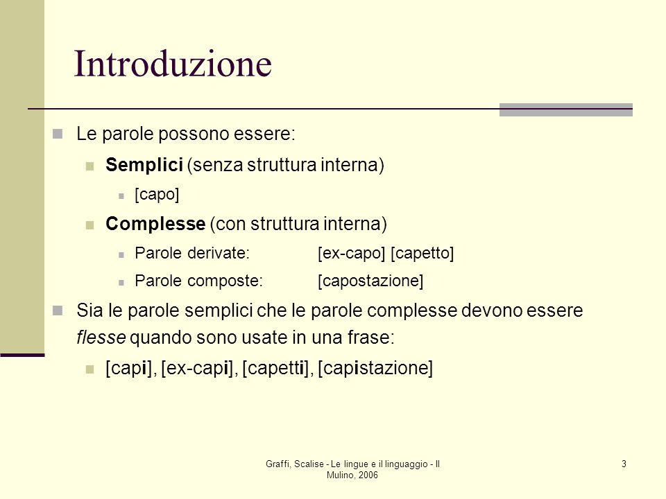 Graffi, Scalise - Le lingue e il linguaggio - Il Mulino, 2006 3 Introduzione Le parole possono essere: Semplici (senza struttura interna) [capo] Compl