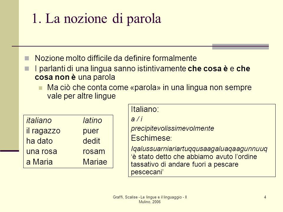 Graffi, Scalise - Le lingue e il linguaggio - Il Mulino, 2006 4 1. La nozione di parola Nozione molto difficile da definire formalmente I parlanti di