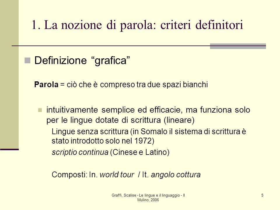 Graffi, Scalise - Le lingue e il linguaggio - Il Mulino, 2006 5 1. La nozione di parola: criteri definitori Definizione grafica Parola = ciò che è com