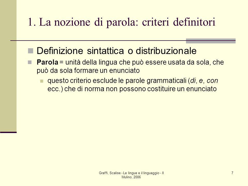 Graffi, Scalise - Le lingue e il linguaggio - Il Mulino, 2006 7 1. La nozione di parola: criteri definitori Definizione sintattica o distribuzionale P