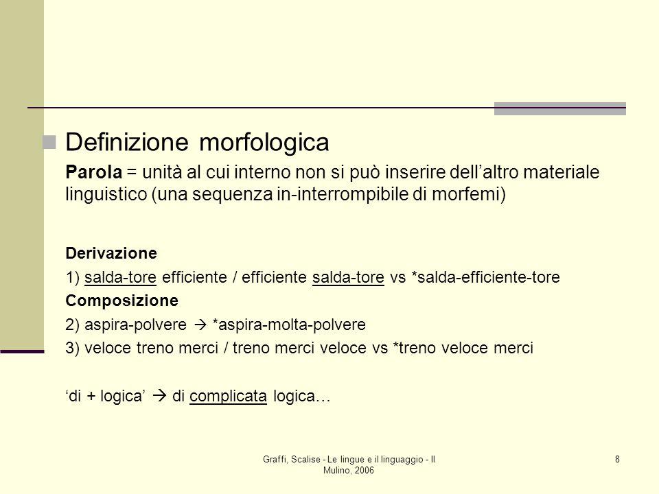 Graffi, Scalise - Le lingue e il linguaggio - Il Mulino, 2006 8 Definizione morfologica Parola = unità al cui interno non si può inserire dellaltro ma