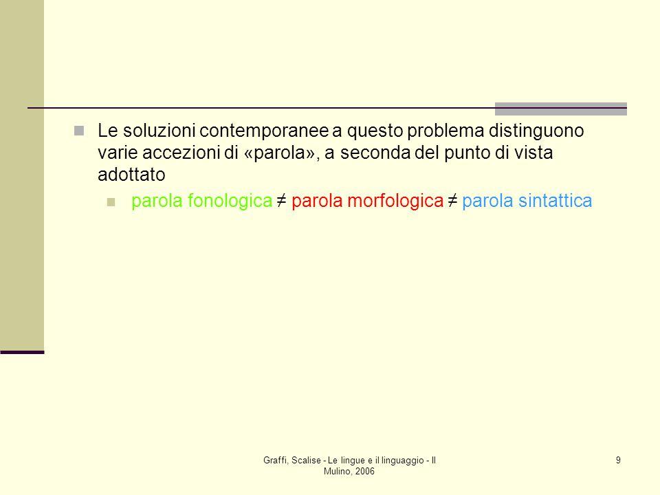 Graffi, Scalise - Le lingue e il linguaggio - Il Mulino, 2006 9 Le soluzioni contemporanee a questo problema distinguono varie accezioni di «parola»,