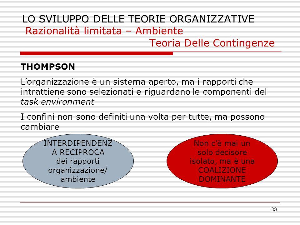 38 INTERDIPENDENZ A RECIPROCA dei rapporti organizzazione/ ambiente LO SVILUPPO DELLE TEORIE ORGANIZZATIVE Razionalità limitata – Ambiente Teoria Dell
