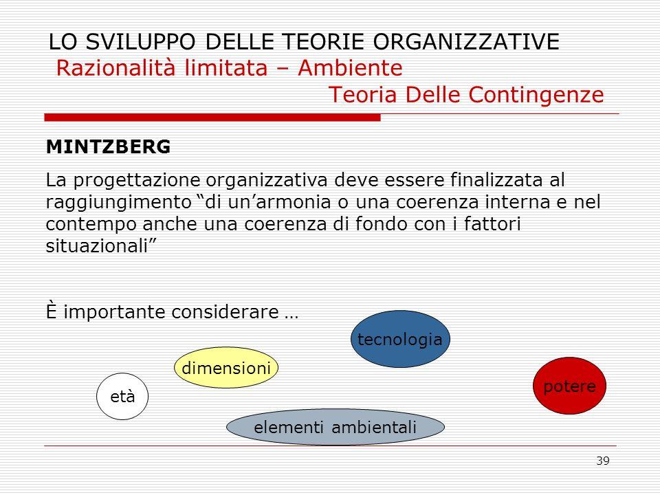 39 LO SVILUPPO DELLE TEORIE ORGANIZZATIVE Razionalità limitata – Ambiente Teoria Delle Contingenze MINTZBERG La progettazione organizzativa deve esser