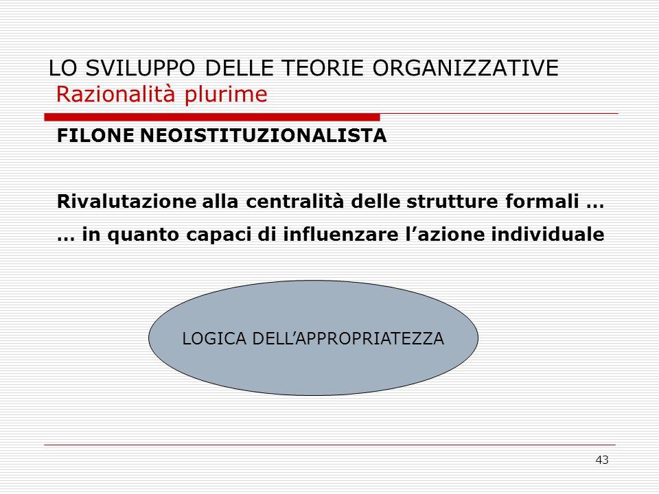 43 LO SVILUPPO DELLE TEORIE ORGANIZZATIVE Razionalità plurime FILONE NEOISTITUZIONALISTA Rivalutazione alla centralità delle strutture formali … … in
