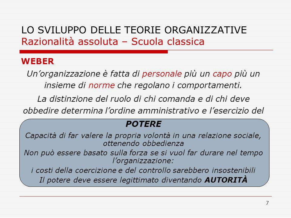 7 LO SVILUPPO DELLE TEORIE ORGANIZZATIVE Razionalità assoluta – Scuola classica WEBER Unorganizzazione è fatta di personale più un capo più un insieme
