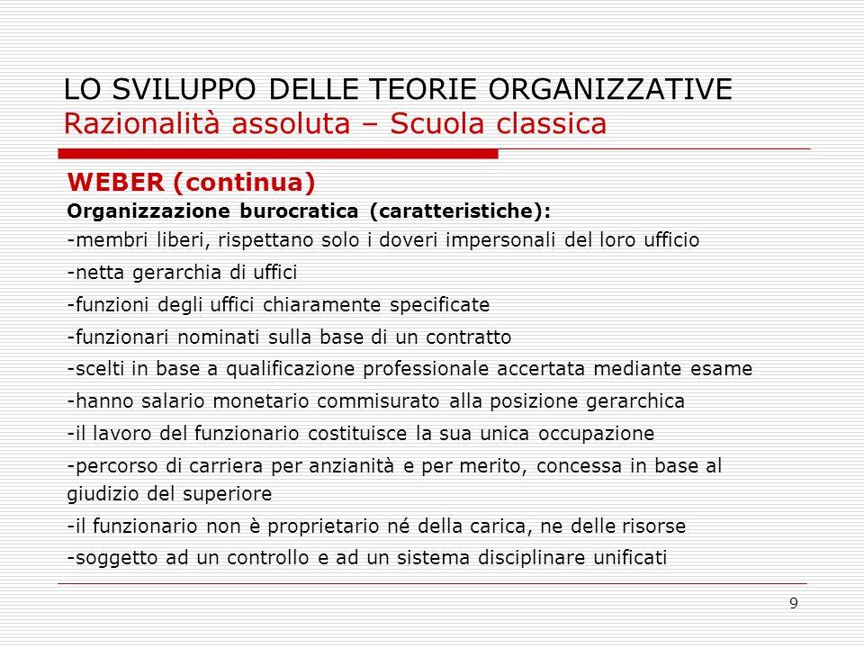 9 LO SVILUPPO DELLE TEORIE ORGANIZZATIVE Razionalità assoluta – Scuola classica WEBER (continua) Organizzazione burocratica (caratteristiche): -membri