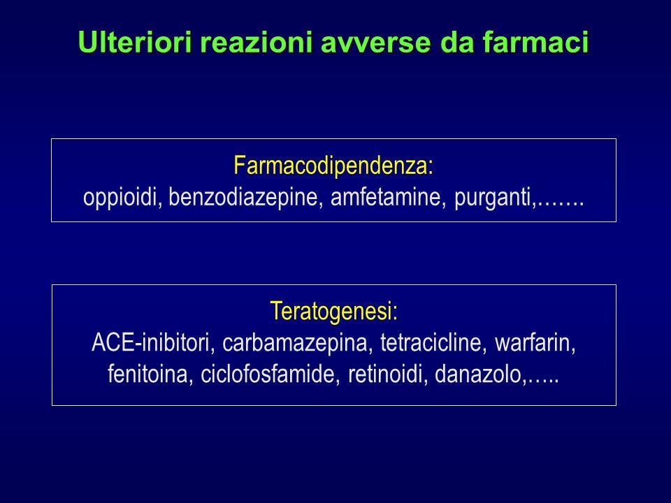 Ulteriori reazioni avverse da farmaci Farmacodipendenza: oppioidi, benzodiazepine, amfetamine, purganti,…….