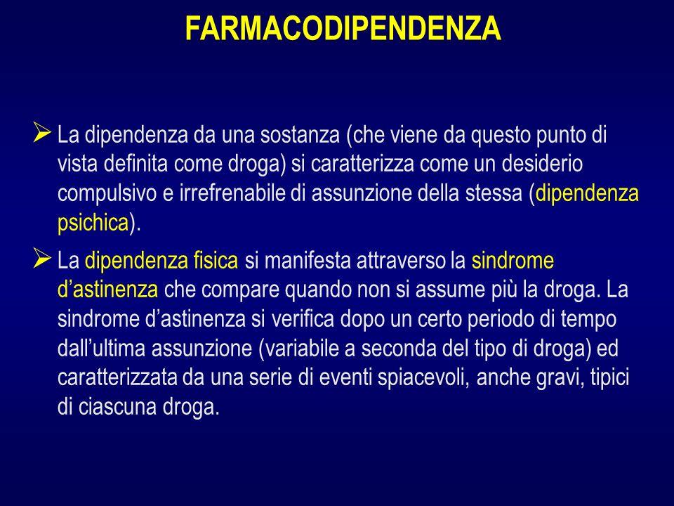 La dipendenza da una sostanza (che viene da questo punto di vista definita come droga) si caratterizza come un desiderio compulsivo e irrefrenabile di assunzione della stessa (dipendenza psichica).