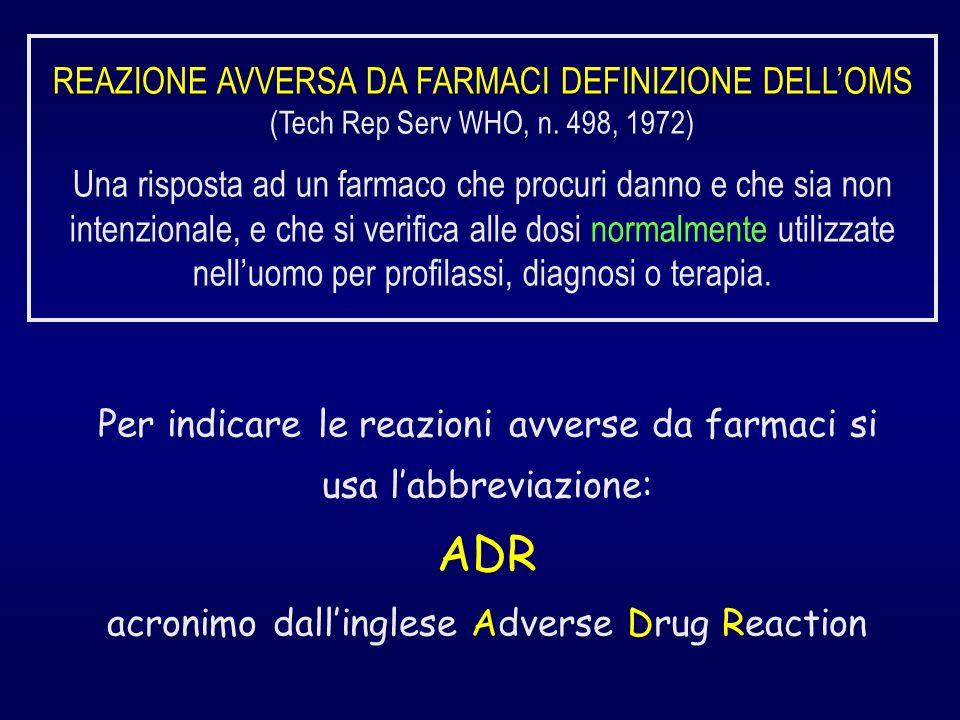 REAZIONE AVVERSA DA FARMACI DEFINIZIONE DELLOMS (Tech Rep Serv WHO, n.