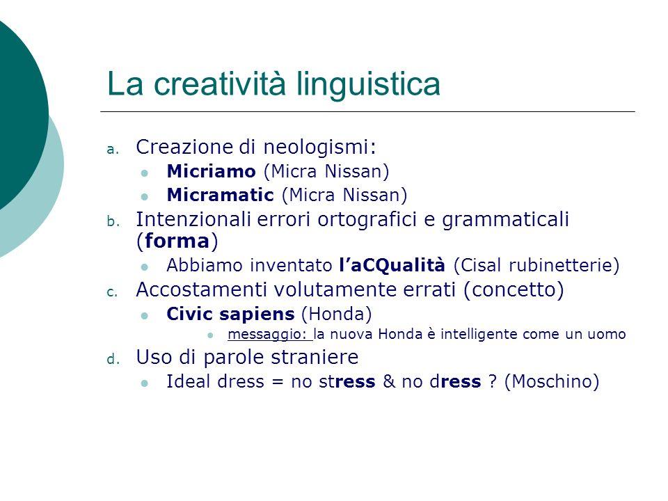 La creatività linguistica a.
