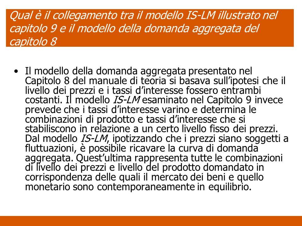 Qual è il collegamento tra il modello IS-LM illustrato nel capitolo 9 e il modello della domanda aggregata del capitolo 8 Il modello della domanda agg
