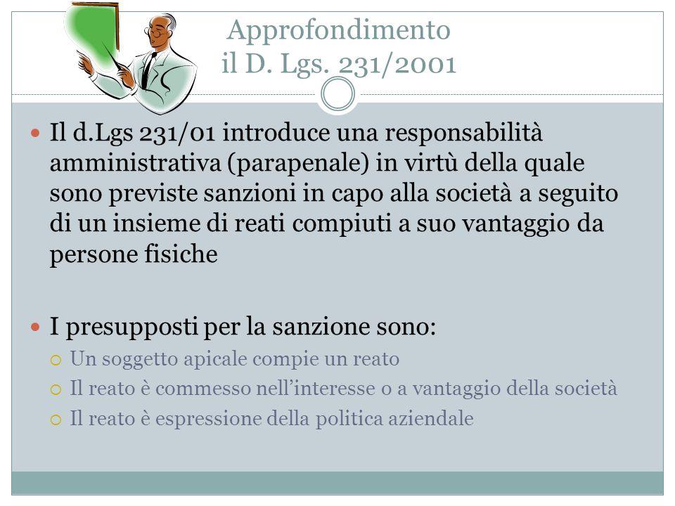 Approfondimento il D. Lgs. 231/2001 Il d.Lgs 231/01 introduce una responsabilità amministrativa (parapenale) in virtù della quale sono previste sanzio