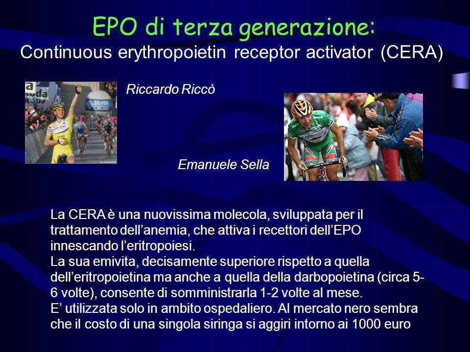 Riccardo Riccò La CERA è una nuovissima molecola, sviluppata per il trattamento dellanemia, che attiva i recettori dellEPO innescando leritropoiesi. L