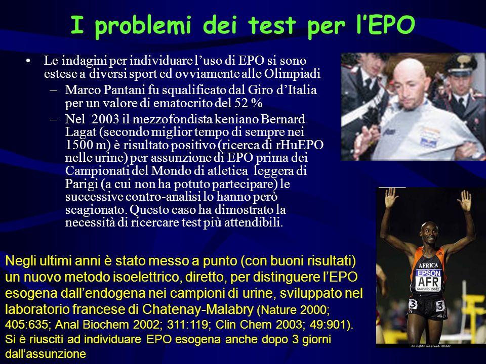 I problemi dei test per lEPO Le indagini per individuare luso di EPO si sono estese a diversi sport ed ovviamente alle Olimpiadi –Marco Pantani fu squ