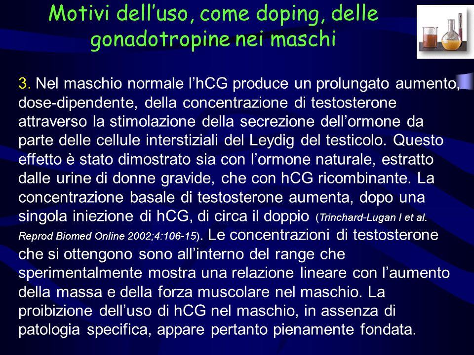 Le evidenze disponibili suggeriscono che lhCG abbia un effetto trascurabile sulle concentrazioni di testosterone nella donna (pertanto il suo uso da parte delle atlete non è considerato doping).