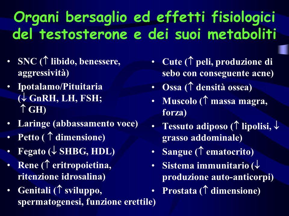 Raggruppamento azioni farmacologiche Azioni morfogeniche: irreversibili; si verificano durante lembriogenesiAzioni morfogeniche: irreversibili; si verificano durante lembriogenesi Azioni stimolatorie: pubertà (peli, corde vocali, ossa)Azioni stimolatorie: pubertà (peli, corde vocali, ossa) Azioni di mantenimento: reversibili; comportamento, libido, funzione riproduttivaAzioni di mantenimento: reversibili; comportamento, libido, funzione riproduttiva Altre azioni : diminuzione tessuto linfoide; stimolazione eritropoiesi.Altre azioni : diminuzione tessuto linfoide; stimolazione eritropoiesi.