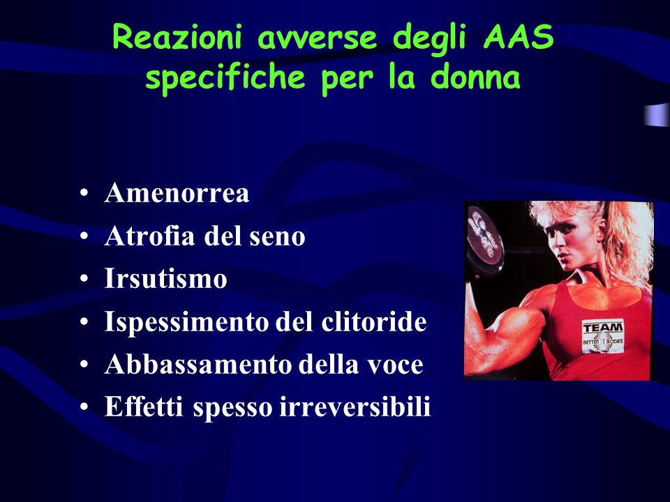 Abuso di steroidi anabolizzanti Polifarmacia per mascherare gli effetti avversi Effetti avversiFarmaci Ginecomastia Acne Atrofia testicolare Edemi Aumento peso Tamoxifene Testolattone Tretinoina o antibiotici hCG Diuretici Tiroxina