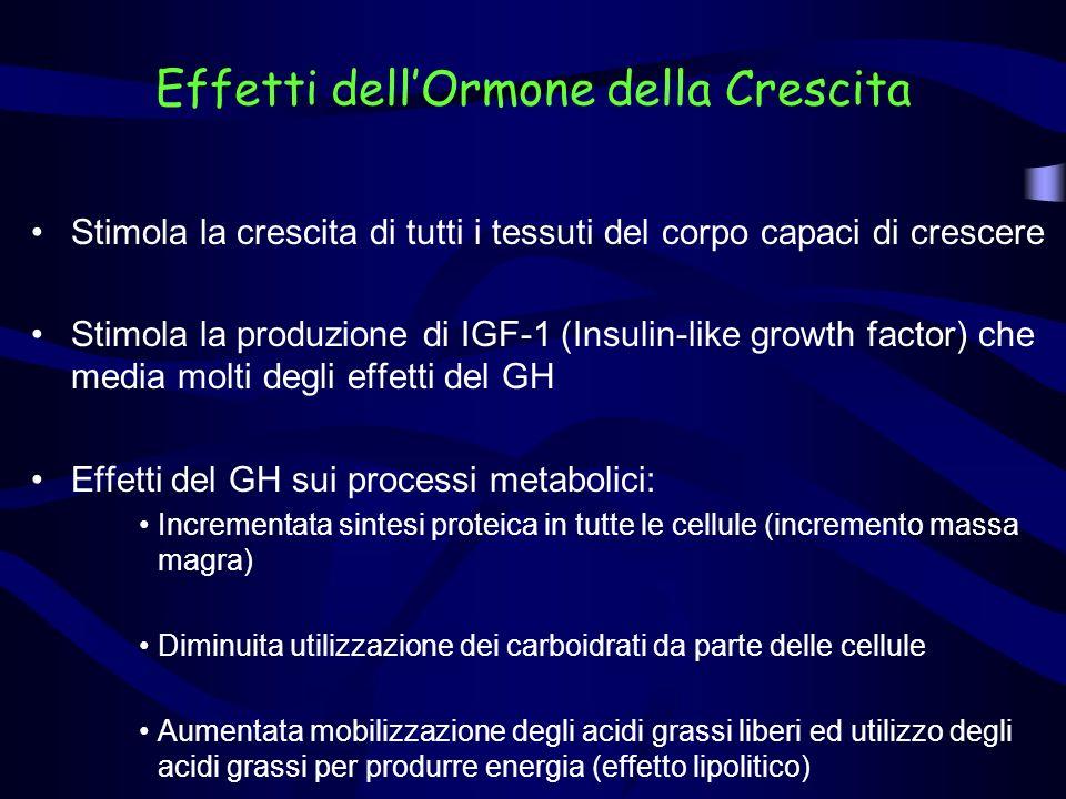 Organo/tessuto bersaglioPrincipali effetti Apparato scheletrico Differenziazione e proliferazione delle cellule cartilaginee Apposizione ossea Apparato cardiovascolare Aumento contrattilità cardiaca e frequenza cardiaca riduzione resistenze vascolari; ipertrofia miocardica FegatoAumento glicogenolisi, neoglucogenesi, chetogenesi Tessuto adiposoAumento della lipolisi con diminuzione grasso corporeo MuscoloAumento della massa muscolare; aumento della forza (?) ReneRitenzione idro-salina, con aumento della volemia IntestinoAumento assorbimento di calcio CervelloSenso benessere e di energia, capacità di concentrazione CuteCrescita dei peli Azioni ubiquitarieInsulinoresistenza; proliferazione cellulare Principali organi/tessuti bersaglio del GH e relativi effetti dellormone