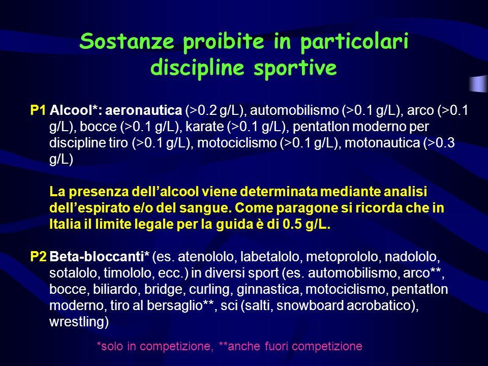 P1 Alcool*: aeronautica (>0.2 g/L), automobilismo (>0.1 g/L), arco (>0.1 g/L), bocce (>0.1 g/L), karate (>0.1 g/L), pentatlon moderno per discipline tiro (>0.1 g/L), motociclismo (>0.1 g/L), motonautica (>0.3 g/L) La presenza dellalcool viene determinata mediante analisi dellespirato e/o del sangue.