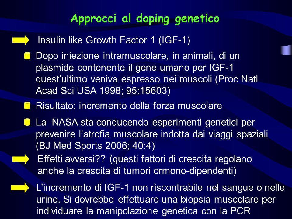Approcci al doping genetico Insulin like Growth Factor 1 (IGF-1) Effetti avversi?? (questi fattori di crescita regolano anche la crescita di tumori or