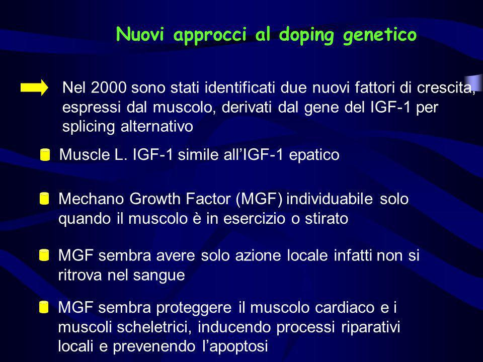 Nuovi approcci al doping genetico Nel 2000 sono stati identificati due nuovi fattori di crescita, espressi dal muscolo, derivati dal gene del IGF-1 pe