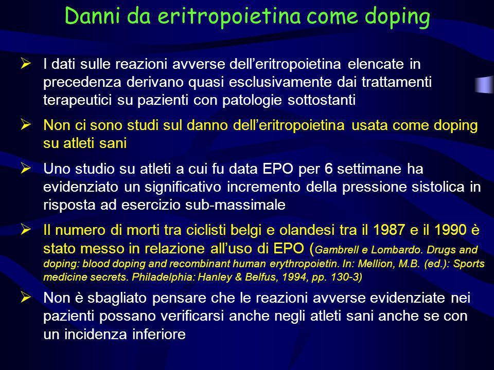 Danni da eritropoietina come doping I dati sulle reazioni avverse delleritropoietina elencate in precedenza derivano quasi esclusivamente dai trattame