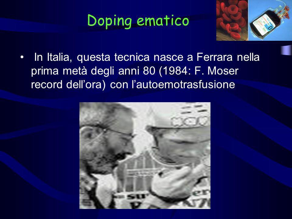 In Italia, questa tecnica nasce a Ferrara nella prima metà degli anni 80 (1984: F. Moser record dellora) con lautoemotrasfusione Doping ematico