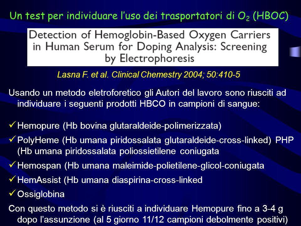 Un test per individuare luso dei trasportatori di O 2 (HBOC) Lasna F. et al. Clinical Chemestry 2004; 50:410-5 Usando un metodo eletroforetico gli Aut