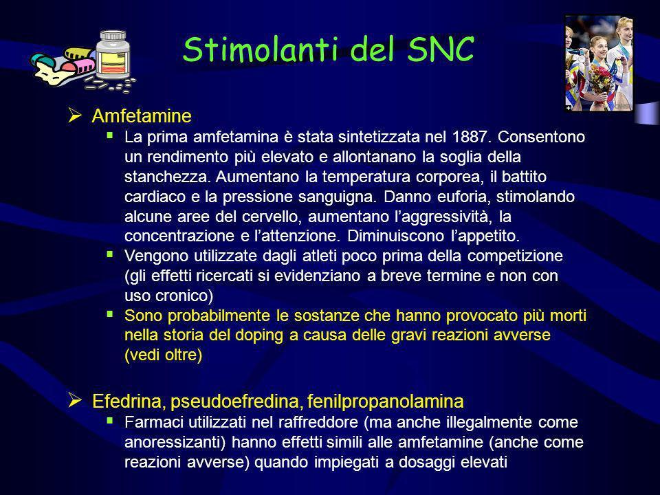 Stimolanti del SNC Amfetamine La prima amfetamina è stata sintetizzata nel 1887. Consentono un rendimento più elevato e allontanano la soglia della st