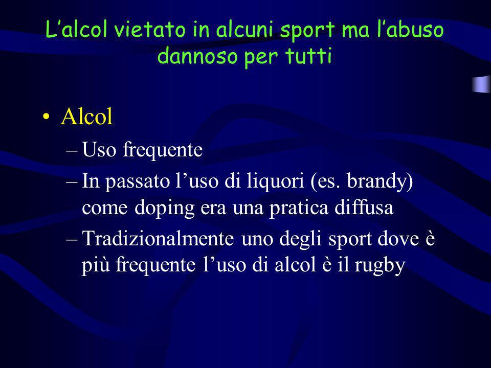 Lalcol vietato in alcuni sport ma labuso dannoso per tutti Alcol –Uso frequente –In passato luso di liquori (es. brandy) come doping era una pratica d