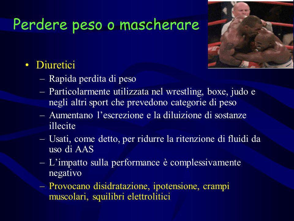 Perdere peso o mascherare Diuretici –Rapida perdita di peso –Particolarmente utilizzata nel wrestling, boxe, judo e negli altri sport che prevedono ca